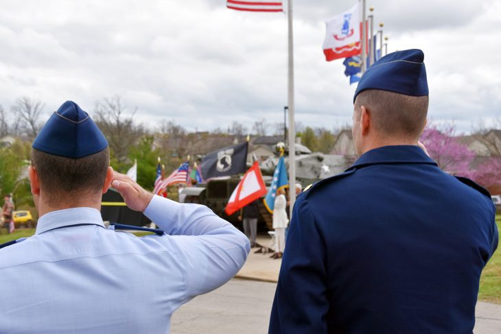 Members of the University of Kentucky Air Force ROTC render honors at a ceremony in Lexington, Kentucky, unveiling the newest Gold Star Families Memorial Monument at Veterans Park.