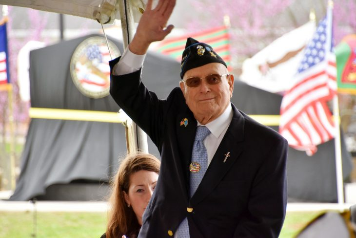 """Marine Veteran and Medal of Honor recipient Hershel """"Woody"""" Williams is recognized at an event in Lexington, Kentucky."""