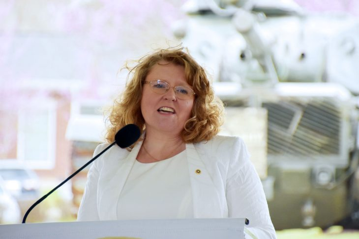 Gold Star Mother Cathy Mullins speaks at an event dedicating a memorial in Lexington, Kentucky.
