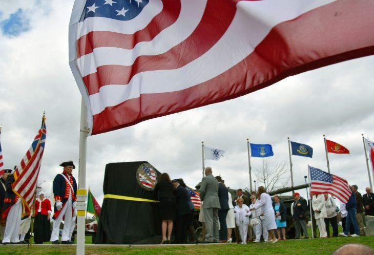 Moments before a new Gold Star Families memorial was unveiled at Lexington, Kentucky's Veterans Park.