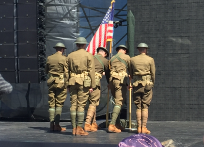 "Soldiers from the 1st Infantry Division dressed as ""Doughboys"" present the colors at the World War I Commemoration Ceremony."