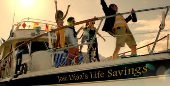 "Image of people partying on a boat with the name ""Jose Diaz's life savings' on the bow."