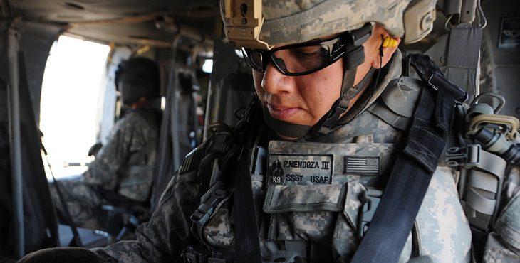 Image of a soldier wearing goggles and combat gear