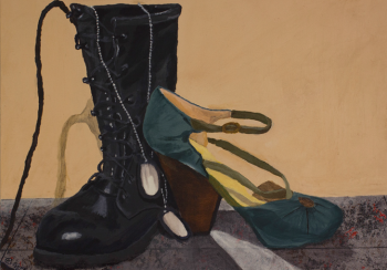 Art: A combat boot, a high-heeled shoe and a set of dog tags