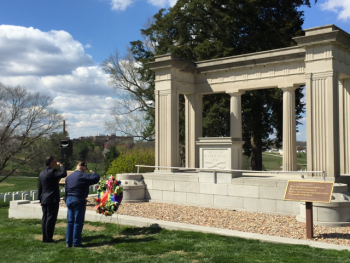 NCA Deputy Undersecretary Glenn Powers and Mr. Westmoreland, Army Veteran, present arms upon laying a wreath in honor of World War I Veterans at Leavenworth National Cemetery, Leavenworth, KS.