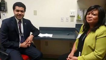 Image of Vanessa Coronel (right) being interviewed by Shereef Elnahal, Assistant Deputy Under Secretary for Health for Quality, Safety and Value at the Diffusion of Excellence Summit in Orlando, Florida.