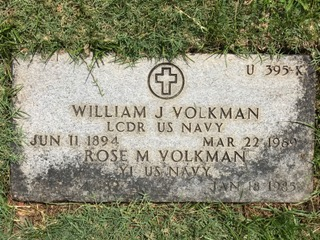 Grave marker of Y1 Rose Volkman and LCDR William Volkman, at National Memorial Cemetery of the Pacific.