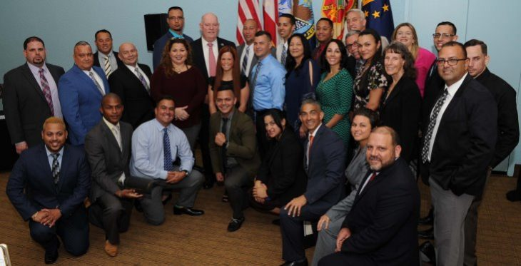 Image: Fort Buchanan, Puerto Rico Warrior Training Advancement Course graduates pose with Acting VA Under Secretary for Benefits, Tom Murphy, during a graduation ceremony Mar. 30. The course graduates are now trained and eligible to begin careers as Veteran service representatives with the Department of Veterans Affairs. (VA Photo)