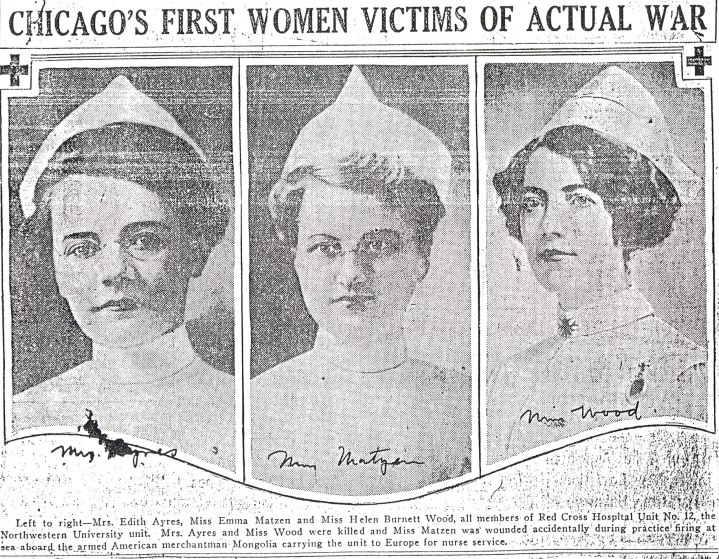 Image of a newspaper clipping featuring images of the three nurses.