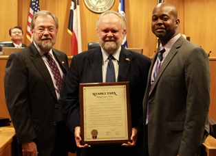 IMAGE: Tarrant County Veterans Treatment Court is recognized by county officials. From left to right: Tarrant County Judge Glen Whitley, Veterans Treatment Court Judge Brent Carr, Veterans Treatment Court Manager Courtney Young