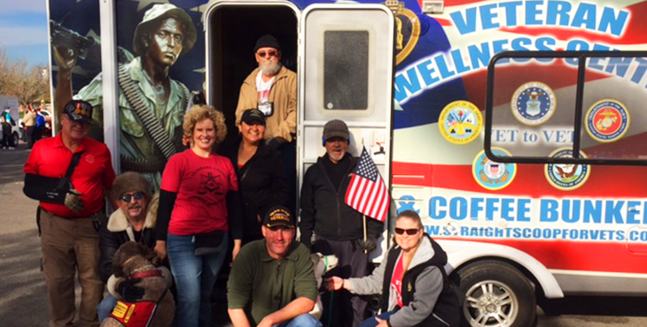 Image of the mobile coffee bunker and crew