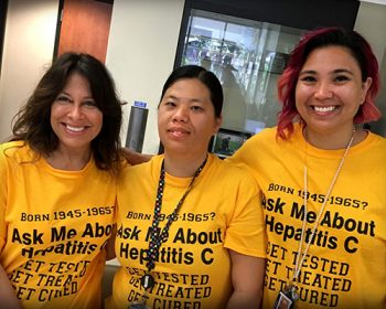 Hep C Team (left to right): Lisa Canty, Annie Xang, Jennifer Siilata. VA Central California Health Care System's Hepatitis C Clinic and the entire staff working hard to raise Hepatitis C awareness.