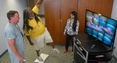 Image: Veteran balancing on Wii board