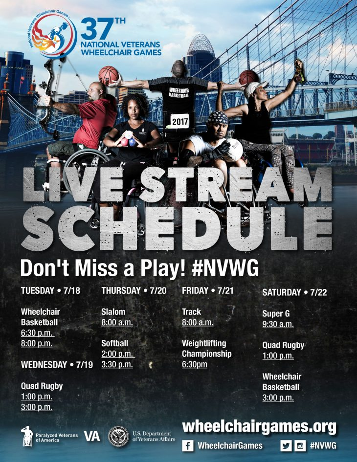 Live Streaming schedule for 37th National Veterans Wheelchair Games