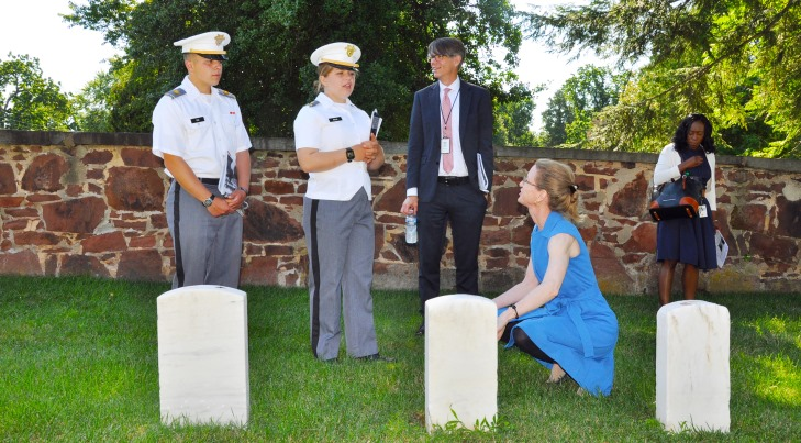 IMAGE: Cadets Riley Eck, left, and Mimi Mejia toured Alexandria National Cemetery July 31, with Dr. Bryce Carpenter, National Cemetery Administration (NCA) Educational Outreach Programs Officer, Virginia Price, NCA historian, and Bridgette Jimenez, NCA Pathways intern. The cadets will serve as interns and assist cemetery directors in service and outreach programs that connect the Veteran legacy in the cemeteries with the community. Photo by Shawn Graham, Public Affairs Specialist