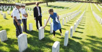 IMAGE: West Point Cadets Riley Eck, left, and Mimi Mejia tour Alexandria National Cemetery July 31, with Dr. Bryce Carpenter, National Cemetery Administration (NCA) Educational Outreach Programs Officer; and Virginia Price, NCA historian. The cadets will serve as interns and assist cemetery directors in service and outreach programs that connect the Veteran legacy in the cemeteries with the community. Photo by Shawn Graham, Public Affairs Specialist