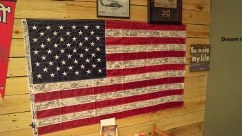 Flag hung at Fox's BBQ