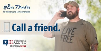 IMAGE: A Veteran calling another friend for the #BeThere sucide prevention campaign.