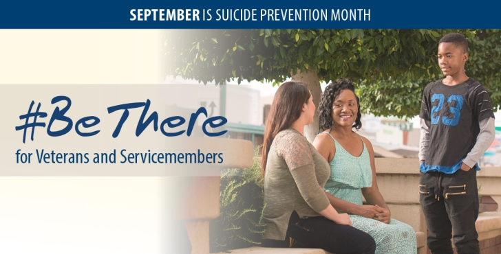 #BeThere info graphic for suicide prevention month