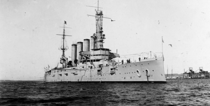 IMAGE: USS San Diego (Armored Cruiser No. 6) photographed Jan. 28, 1915, while serving as flagship of the Pacific Fleet. U.S. Navy Photo courtesy of Naval History and Heritage Command.