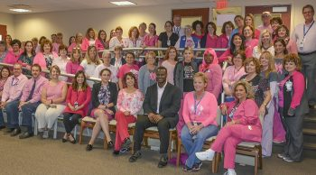 Staff at the Louis A. Johnson VA Medical Center participate in a PINK OUT every Monday in October to promote breast cancer awareness.