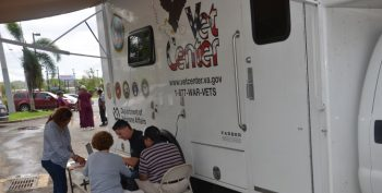 IMAGE: A mobile Vet Center outside of the recovinghe Arecibo Vet Center