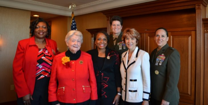 "IMAGE:Pictured with Major General Reynolds (third from the right), Brig. Gen. Shea (far right) is Theresa ""Sue"" Malone Sousa."