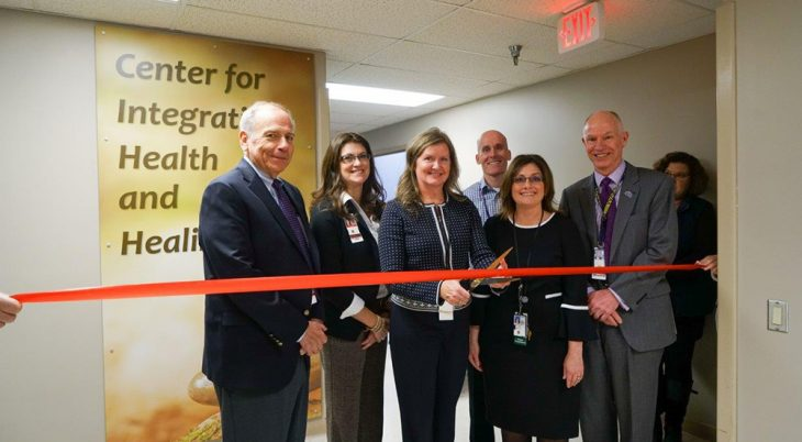 L-R: Chief of Staff Kent Crossley, Chief Experience Officer Martina Malek, nurse practitioner Judy Wagner, Chief of PM&R Mike Armstrong, nurse practitioner Laurie Kubes and Director Patrick Kelly