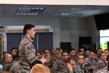 178th Wing leadership hosted a forum to communicate their goals with first-term Airmen and answer questions. (Photo by Elisabeth A Gelhar)