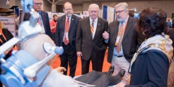 Image: Deputy Secretary of Veterans Affairs Thomas G. Brown connected with various Veteran-owned and other small businesses at 2017 NVSBE Exhibit Hall for in-person demonstrations of products and services that can offer VA support in Veterans care