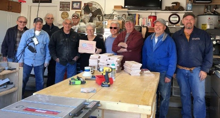 Volunteers from Quailwood Woodworkers Club, many of them Veterans, donated 20 handmade wooden urns to Prescott National Cemetery.