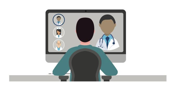 Clip art graphic of a Veteran using a commuter to video conference with a VA doctor