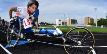 IMAGE: A wheelchair competitor takes to the track.