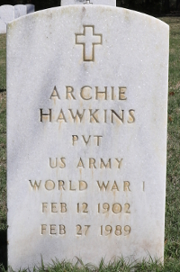 Archie Hawkins's grave marker at Florida National Cemetery