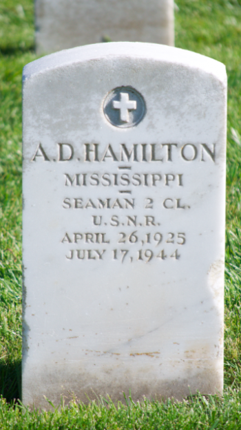 A. D. Hamilton's grave marker at Golden Gate National Cemetery