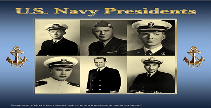 Six out of the 45 U.S. presidents served as officers in the Navy. In military uniforms pictured from left to right top row are: John F. Kennedy, Gerald. R. Ford, Jimmy Carter, George H. W. Bush, Lyndon B. Johnson and Richard Nixon. (Photos courtesy of Library of Congress. U.S. Navy. U.S. Air Force graphic by Senior Airman Luis Loza Gutierrez)