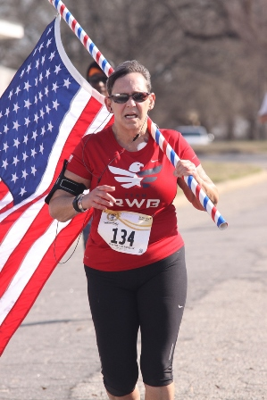 IMAGE: Bernie Donato running with Old Glory
