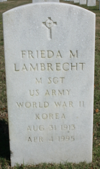 Photograph of Frieda Lambrecht's grave marker located at Florida National Cemetery