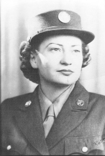 Black and white photograph of Pfc. Rose F. Puchalla in her Army uniform.