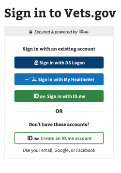 IMAGE> Vets.Gov login screen