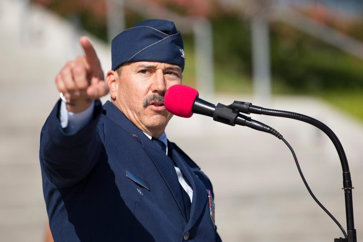 Retired Air Force colonel, Dr. Eric Kendle, delivers a passionate speech to guests attending the 2018 Welcome Home event for Veterans. (U.S. Department of Veterans Affairs photos by Reynaldo Leal)