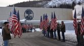 IMAGE: Patriot Guard Riders escorted three flatbed tractor-trailers hauling the 5th Marines Vietnam War Memorial from Rock of Ages, Barre, VT to Marine Camp Pendleton, CA on Thursday, March 22. (credit: Rock of Ages)