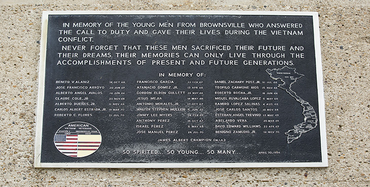 Shown in photo is a plaque that bears the names of the 28 Vietnam War service members from Brownsville, Texas, who did not return home after the conflict.