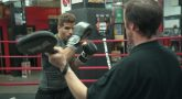 Air Force Veteran aims for his next punch while training at Gleason's Gym in Brooklyn.