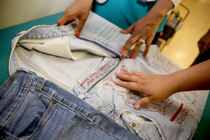 Image of clothesline project on display at the outpatient clinic in Harlingen, Texas, in observance of the Sexual Assault Awareness Month. The clothesline project included denim in observance of Denim Day, which took place April 25, 2018. (U.S. Department of Veterans Affairs photo by Luis H. Loza Gutierrez)