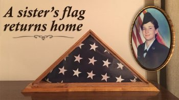 The family of Air Force Veteran Christine M. Casselberry thought they would never again see their sister's memorial U.S. flag, but thanks to the integrity and effort of VA employees their sister's long, lost flag has finally returned home. (U.S. Department of Veterans Affairs photo illustration by Luis H. Loza Gutierrez)
