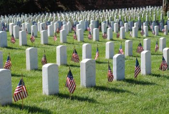 pic of gravesites with US flags