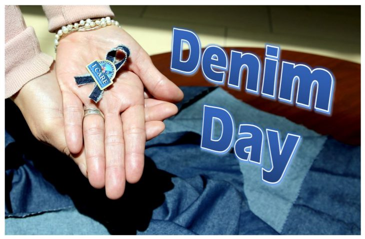 Denim Day photo illustration with Denim Ribbon and I CARE pin taken April 18, 2018. Blanca Benavides posed as hand model. (U.S. Department of Veterans Affairs photo illustration by Luis H. Loza Gutierrez)    Public Service Announcement:   The VA Harlingen Outpatient Clinic is scheduled to have a Clothes Line on display in observance of Sexual Assault Awareness Month. The Clothes Line will be on display from April 25 to May 4. The Clothes Line will feature shirts with messages and imagery in support of the VA's national sexual assault awareness and prevention campaign. Unlike years before, this year's clothes line will feature some clothing items made of denim. April 25, 2018, is International Denim Day.