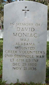 Photograph of David Moniac's memorial marker at Florida national Cemetery in Bushnell, Florida.
