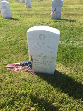 Photograph of Grave Marker for Sgt. Victor Pedersen at Golden Gate National Cemetery